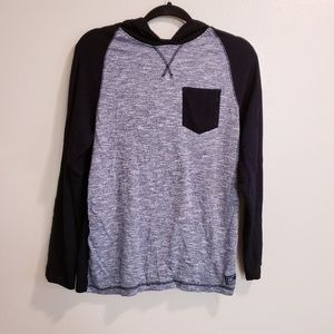 Distortion Black & Grey hooded Long Sleeve Shirt